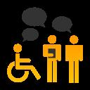 Une personne en chaise roulante et deux personnes debout discutent ensemble.