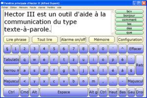 Une phrase est tapée à l'aide du clavier bleu.