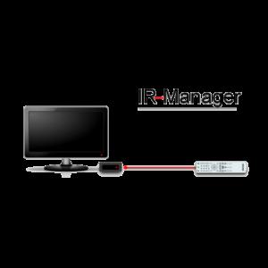 Un signal infrarouge est symbolisé par une ligne rouge entre la télécommande et le boîtier de l'écran