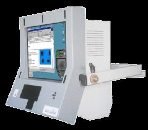 Le visioboard est une machine blanche et grise avec un écran allumé