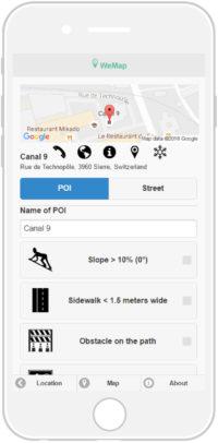L'écran du téléphone portable montre les caractéristiques de la route à prendre.