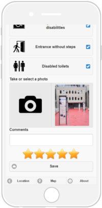 L'écran du téléphone portable montre un menu, qui permet de noter l'application et d'ajouter des photos du lieu visité.